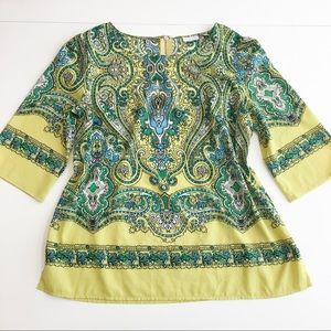 New York & Company Flowy Tunic Top Paisley Floral